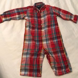 Ralph Lauren Red & Blue Plaid Jumpsuit Sz 18Months